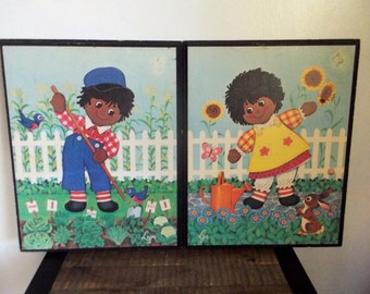 Pair of Vintage Raggedy Anne and Andy Black Americana Wall Plaques