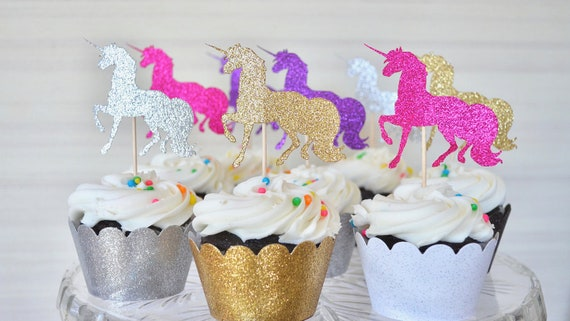 Glitter Unicorn Cupcake Toppers - Choose from Gold | Silver | Hot Pink | Purple | White and many other colors!