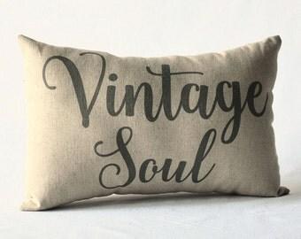 Vintage Soul linen pillow