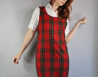 Women's Dress, Red Plaid, 90s Dress, Short, Grunge, Tartan, Jumper, Sleeveless, Spring, Office, Teacher, Preppy, Size Medium