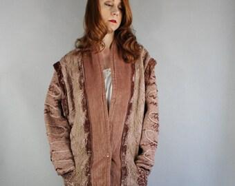Women's Boho Coat, Blush Pink, Vintage 80s, Hippie, Dusty Rose, Shabby Chic, Velveteen, Lace, Bohemian, Festival, Size Large. FREE SHIPPING