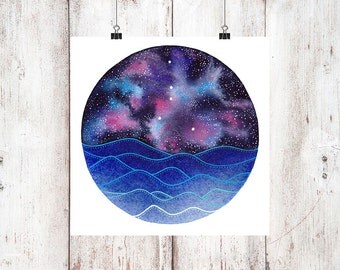 The Cancer Constellation above the ocean waves, Instant Download, Cancer Stars Print, Zodiac Print digital download, Cancerian painting art