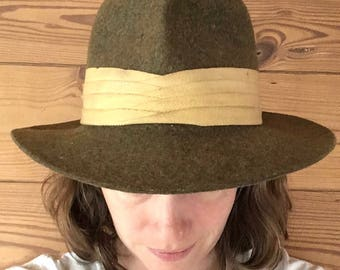 1980s classic wool green hat / l.l. bean winter fedora