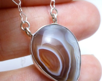 Coyamito Agate Necklace in Sterling Silver Handmade by Lisajoy Sachs One of a Kind Design Heart chain 18 inches long