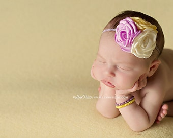 Le Peep lavender ivory and yellow ruffle rosette and chiffon headband bow