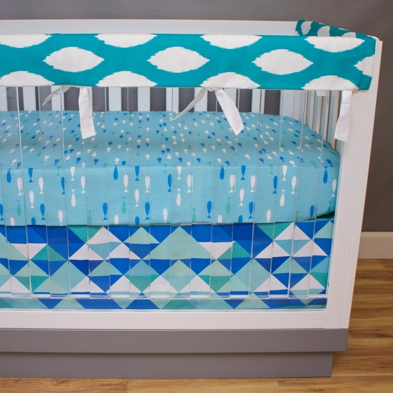 Fish crib bedding baby bedding ocean baby boy nursery crib for Fish crib bedding