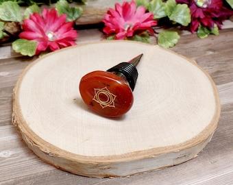 Sacral Chakra Wine Bottle Stopper - Carnelian Bottle Stopper - Gemstone Wine Bottle Stopper