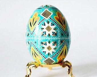 Turquoise Easter Egg hand painted pysanka Ukrainian blue ornament gift
