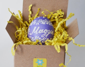 About to hatch egg reveal baby shower decor and gifts party favors for Spring and Easter celebration stylish gold home decor white and lilac