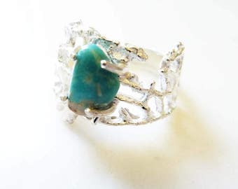 Sterling Silver Prong-Set Turquoise Gemstone Ring, Organic Lacy Coral, Nautical, Sea Lace Turquoise Ring, Size 9