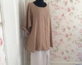 Washable Linen Tunic Shirt  A-Line  Long Sleeves Side Pockets Washed Linen Tunic Made To Order