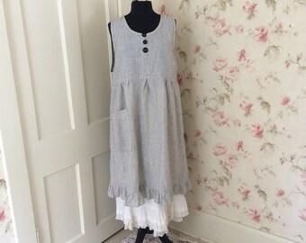 Black Pinstripe Linen Pinafore Dress Smock Black White Pinstripe Ruffled Sleeveless Dress Sweet Prairie Lagenlook 46 Bust