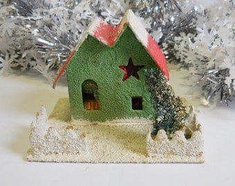 Vintage Putz House Christmas Green Star window white snow glitter  tree light up miniature