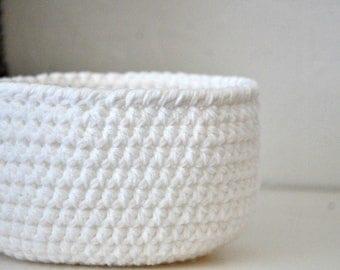 Small White  Basket Catchall Storage Bin Modern Decor Contemporary Design Dorm Decor Custom Colors