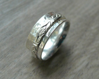 Sterling silver spinner ring worry ring fidget ring anxiety ring rolling ring sterling silver ring silver spinning ring