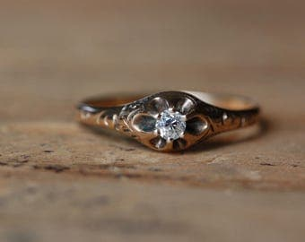 Antique old mine cut 14K gold solitaire stacking or promise ring ∙ Edwardian old cut belcher diamond ring