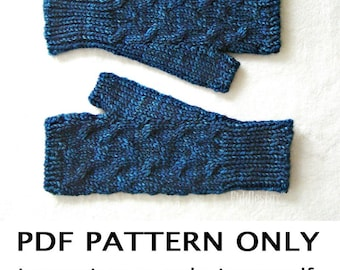 Knitting Pattern - Cabled Fingerless Mittens Pattern - Fingerless Gloves Pattern - the TASHMOO Mitts (Women's S, M, L sizes)