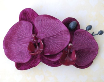 Beautiful double orchid made of velvet and satin in purple rockabilly hairflower vintage wedding bride 50s