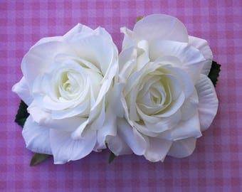 Beautiful double rose in white pin up retro 50s hairflower hairpiece wedding bride bridal