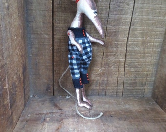 Rat Toy, Primitive, Stuffed Animal, Art Animal, Collectible Figurine, Art Doll