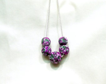 Modern Clay Beaded Necklace, Polymer Jewelry