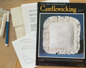 Vintage Candlewicking Pillow Kit, Dutch Flower by Cross-Stitch Originals, Natural Cotton Muslin and Cotton Yarn, Needle & Instructions