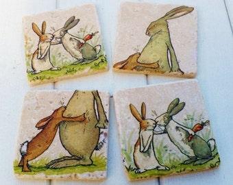 Bunnies/Hare 'I Love You' Stone Coaster Set of 4 Tea Coffee Beer Coasters