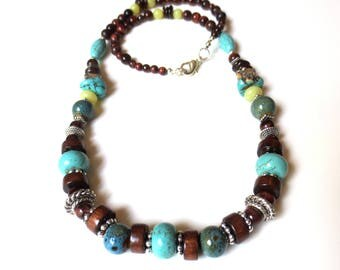 Men's Beaded Necklace - Turquoise Blue Pottery Beads - Brown Wooden Beads - Boyfriend Gift - Red Tiger Eye - Silver Necklace - Men's Choker