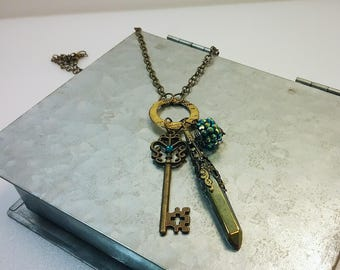 Blue Aura Quartz and Skeleton Key Necklace - Raw Titanium Rainbow Crystal