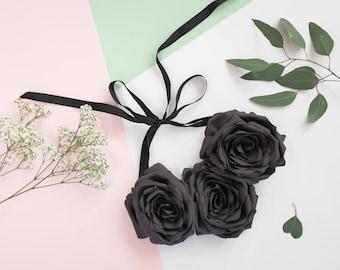Dark Grey Fabric flower necklace, handmade, fabric flowers, bib necklace, collar