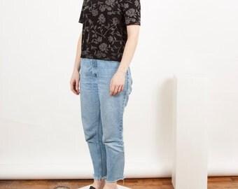 Floral Cropped Tee / Black Shimmery Tshirt / Boxy Feminine Shirt