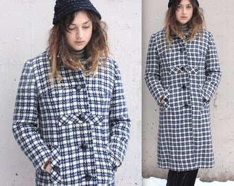 Vintage 1960's Coat // 60s Navy Blue and White Houndstooth Plaid Wool Coat // Mod Empire Waist Winter Coat