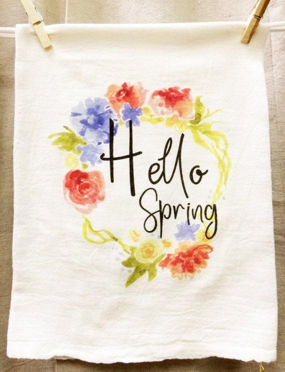 Hello Spring Kitchen Towel, Spring Tea Towel, Flour Sack Towel, Wreath Towel, Floral Towel, Graphic Towel, Housewarming, Floral Spring Decor