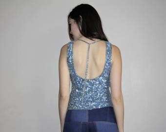 1990s Vintage Sequin Silk Pastel Blue Glam Party Tank Top - 90s Sequined Tops - W00780