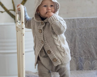 Baby Girls clothes Hand Knit Chunky lace pattern sweater Coat