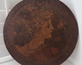 Antique PYROGRAPHY Flemish Art Burnt WOOD Plaque Victorian Woman Shabby 17 3/4 ins.