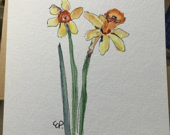 Cheerful Yellow Daffodils Watercolor Card / Hand Painted Watercolor Card