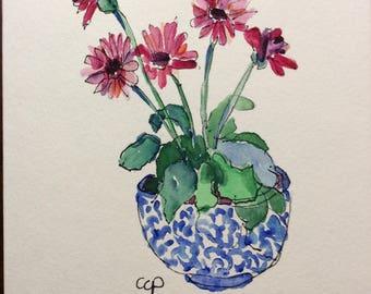Berber Daisies Watercolor Card / Hand Painted Watercolor Card