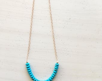 Kingman Turquoise Rose Gold Necklace