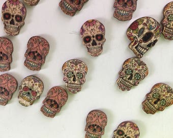 Sugar Skull Buttons - Day of the Dead Buttons - Wood Candy Skull  Buttons
