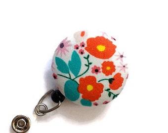 Floral Badge Reel  Retractable Badge Holder Name Badge Holder ID Badge Holder Nurse Badge Reel Key Card Holder Badge Clip White Orange Jade