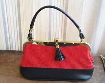 Vintage Purse Red Corduroy Velvet w Black Tassel Detail 60's Mod Fashion Handbag Top Handle Gold Rivet Frame & Button Clasp