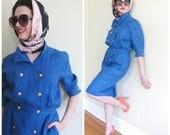 Vintage 1980s Valentino Blue Cotton Linen Gold Button Dress / 80s Designer Short Sleevesummer Dress /  Medium