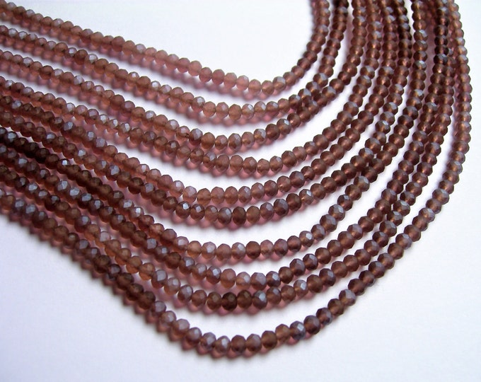 Crystal faceted rondelle - 3.5mmx2.5mm - purple - 147 pcs - full strand - frosted Ab  - CRV153