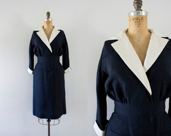 1950s French Sail navy wiggle dress / 50s Charles Cooper