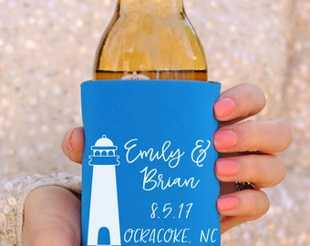 Beach Wedding Favors - Lighthouse Wedding Personalized Can Coolers, DIY Favors for Guests, Destination Wedding Ideas, Summer Wedding
