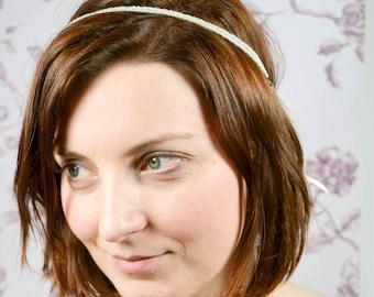 Hairchain Bridalheadband Haarschmuck Roccailles Glasseedpearls Ivory