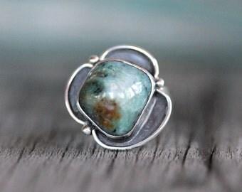Size 6 - Seafoam Blue Caramel Yuba River Rock Ring - Sterling Silver - Asymmetrical Shadowbox