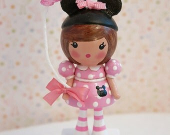 Available Minnie Mouse Cake Topper Decor Little Girl Birthday Pink mouse ears Vintage Style Boho Shabby Handmade Pink One Kids Wood Block