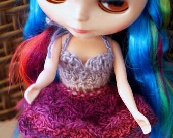 Blythe Doll Flower Dress, Purple Blythe Lace Dress, Crochet Blythe Doll Petal Dress, Blythe Tutu Dress, Blythe Halter Crochet Dress